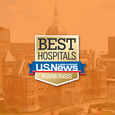 US News Best Hospitals Ranking logo on top of historic building