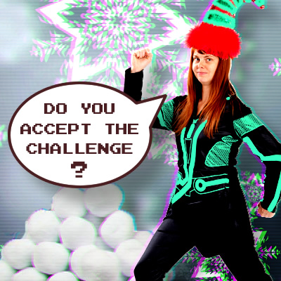 Tron character asks if you accept the challenge with pile of snowballs and falling snowflakes
