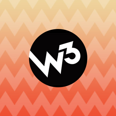 W3 logo in front of orange chevron background