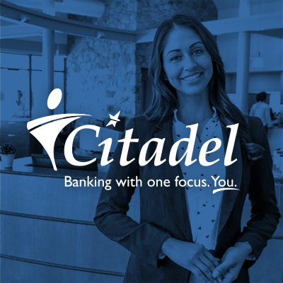 woman smiling and Citadel bank logo