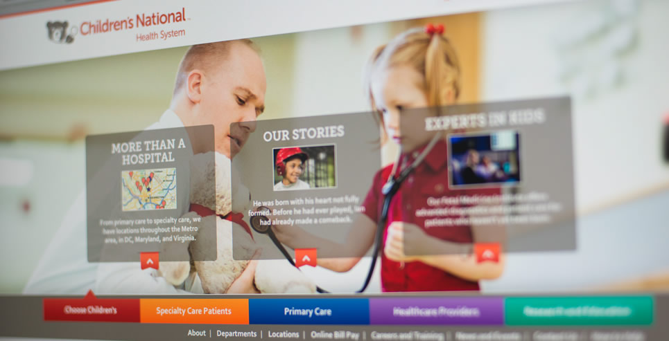 CNAT homepage screenshot of girl playing with stethoscope