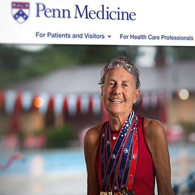 detail of Penn Medicine homepage with female swimmer