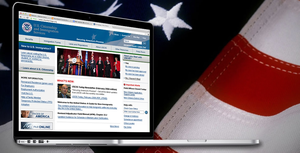 USCIS website on laptop