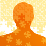 person's silhouette with puzzle pattern