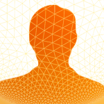 person's silhouette with hex grid pattern