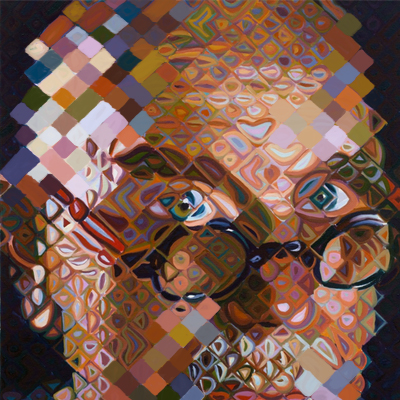 man's face patterned in the style of chuck close