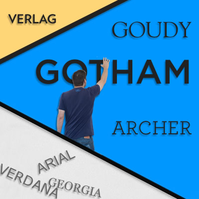 A man reaches for Gotham font among 5 other fonts