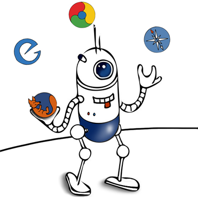 robot juggling browser logos