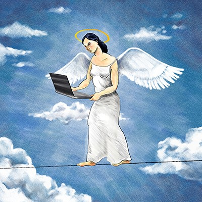 angel on a tightrope with laptop