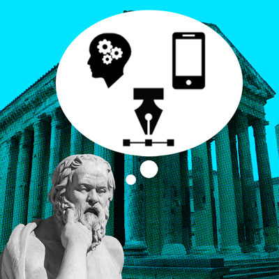 philosopher statue with thought bubble featuring design-related icons
